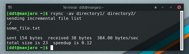 Basic rsync command output in terminal