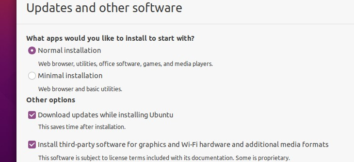Selecting normal installation for Updates and Other Software menu