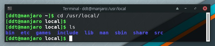 Linux terminal showing cd and ls command