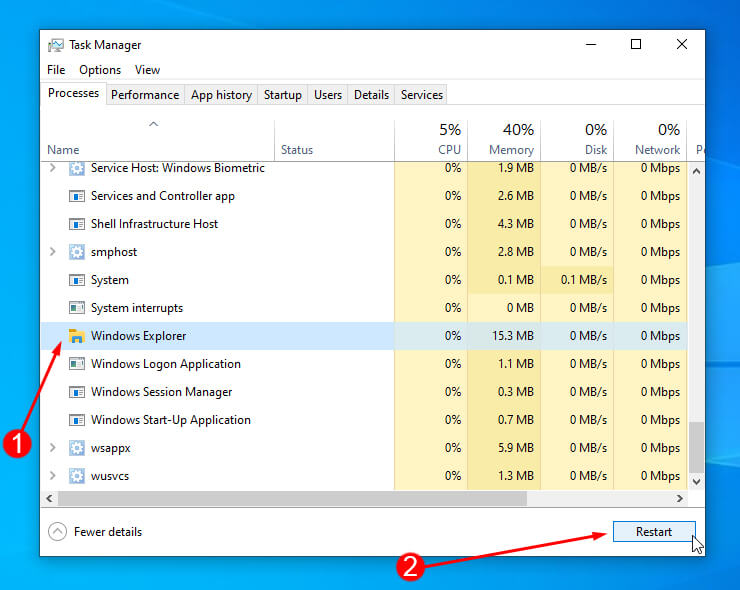 Processes menu in Task Manager, with Windows Explorer highlighted and hitting the restart button