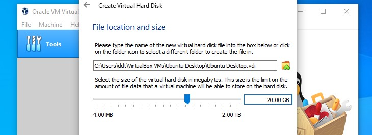 Choose hard drive size for VirtualBox