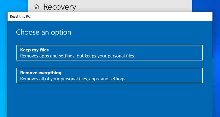 Choose whether to keep your personal files or delete everything