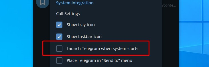 Disable automatic startup from inside an applications setting menu