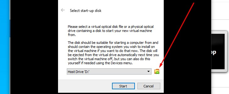 Select start up disk prompt on VirtualBox