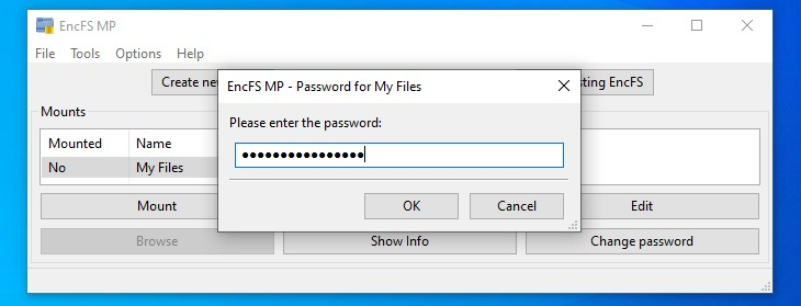 Entering password to mount the encrypted directory