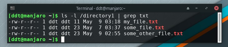 ls command piped to grep to look for certain file type