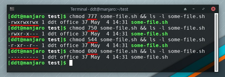 chmod examples in terminal