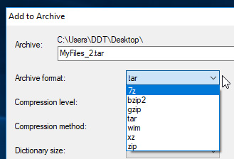 Selecting compression for tar file