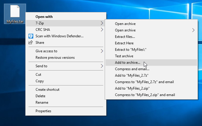 Using 7-Zip to compress a tar file with gzip
