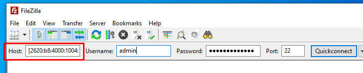 Connecting to an IPv6 address in quick connect bar in FileZilla